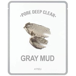 Тканевая маска с серой глиной для очищения пор Pore Deep Clear Gray Mud Mask Apieu