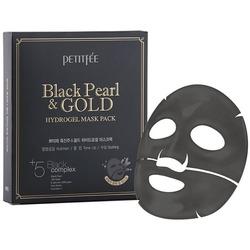 Гидрогелевая маска с золотом и черным жемчугом Black Pearl and Gold Hydrogel Mask Pack Petitfee