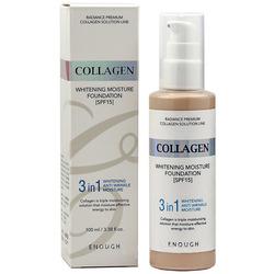 Тональная основа для сияния кожи с коллагеном 3 в 1 Collagen Whitening Moisture Foundation Enough