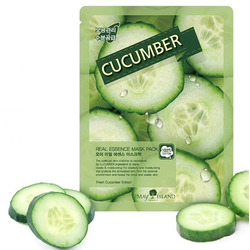 Тканевая маска для лица с огурцом Real Essence Cucumber Mask Pack May Island