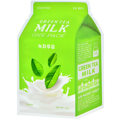 Тканевая маска для лица с экстрактом зеленого чая Green Tea Milk One-Pack Apieu