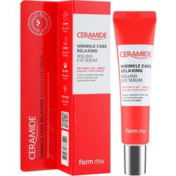 Укрепляющая сыворотка роллер для кожи вокруг глаз с керамидами Ceramide Wrinkle Care Relaxing Rolling Eye Serum FarmStay