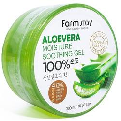 Увлажняющий успокаивающий гель для лица и тела с экстрактом алоэ вера Moisture Soothing Gel Aloevera FarmStay