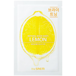 Тканевая маска для лица с экстрактом лимона Natural Lemon Mask Sheet The Saem