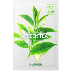Тканевая маска для лица с экстрактом зеленого чая Natural Green Tea Mask The Saem
