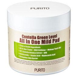 Увлажняющие пэды для очищения кожи с центеллой Centella Green Level All In One Mild Pad Purito