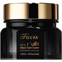 Восстанавливающий крем для лица с муцином черной улитки Facis All-In-One Black Snail Cream Jigott